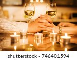 couple drinking wine and... | Shutterstock . vector #746401594