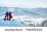 two snowboarders enjoying... | Shutterstock . vector #746405416