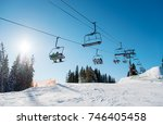 low angle shot of a ski lift at ... | Shutterstock . vector #746405458
