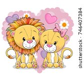 two cute lions on a background...   Shutterstock .eps vector #746407384