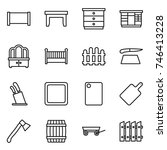 thin line icon set   fence ... | Shutterstock .eps vector #746413228