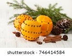 oranges for decoration for the... | Shutterstock . vector #746414584