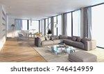 modern bright interiors. 3d... | Shutterstock . vector #746414959