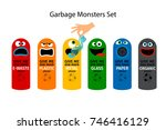 garbage cans for kids with...   Shutterstock .eps vector #746416129