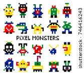 vector pixel invaders vector...   Shutterstock .eps vector #746416243