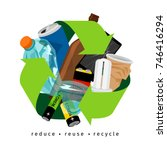 recycling label with trash and... | Shutterstock .eps vector #746416294