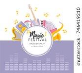 music festival card template.... | Shutterstock .eps vector #746419210