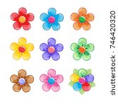 flowers color icon set. vector...