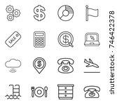 thin line icon set   gear ...