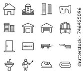 thin line icon set   home ... | Shutterstock .eps vector #746425096