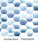 Hexagon Pattern Of Blue Colors...