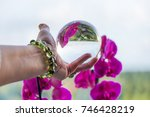 woman's hand with gemstone... | Shutterstock . vector #746428219