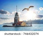 seagull flying near maiden's... | Shutterstock . vector #746432074