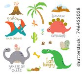 cute vector dinosaurs isolated... | Shutterstock .eps vector #746433028