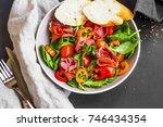 fresh prosciutto ham salad with ... | Shutterstock . vector #746434354