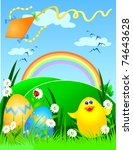 easter background with chick... | Shutterstock .eps vector #74643628