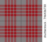 red and grey scottish woven... | Shutterstock .eps vector #746436730