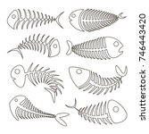 fishbone set icons | Shutterstock .eps vector #746443420