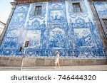 young woman tourist walking... | Shutterstock . vector #746444320