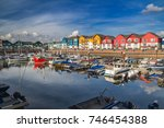 a small and cozy harbor in the... | Shutterstock . vector #746454388