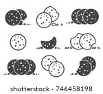 bitten chip cookies icon set.... | Shutterstock .eps vector #746458198