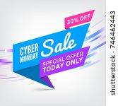 paper sale banner. ribbon.... | Shutterstock . vector #746462443