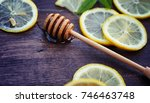 honey and lemon. honey stick... | Shutterstock . vector #746463748