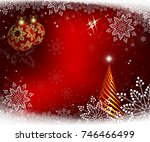 christmas card in red  with... | Shutterstock .eps vector #746466499