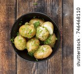 young potatoes. boiled potatoes ... | Shutterstock . vector #746468110