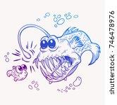angler fish  sea  tropical ... | Shutterstock .eps vector #746478976