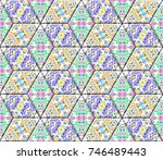 colorful seamless rhombus... | Shutterstock . vector #746489443
