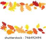 oak leaf vector frame ... | Shutterstock .eps vector #746492494