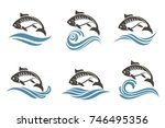 collection of fish icon with... | Shutterstock .eps vector #746495356