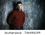 portrait of a handsome young... | Shutterstock . vector #746496199