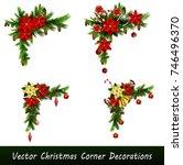 set of cristmas corner... | Shutterstock .eps vector #746496370