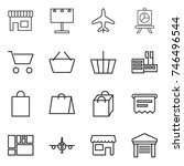 thin line icon set   shop ... | Shutterstock .eps vector #746496544