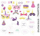 unicorns and magic theme for... | Shutterstock .eps vector #746497636