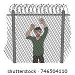 refugee behind a fence  vector... | Shutterstock .eps vector #746504110