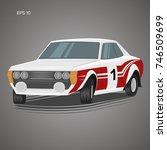 old retro rally car vector... | Shutterstock .eps vector #746509699