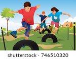 a vector illustration of kids... | Shutterstock .eps vector #746510320