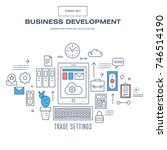 modern thin line business icons