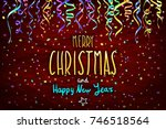 merry christmas and happy new... | Shutterstock .eps vector #746518564