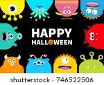 happy halloween greeting card.... | Shutterstock .eps vector #746522506