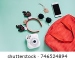holiday concept   flat lay of... | Shutterstock . vector #746524894