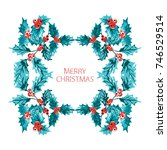 elegant christmas wreath with... | Shutterstock .eps vector #746529514