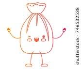 kawaii cartoon garbage bag tied ... | Shutterstock .eps vector #746532538