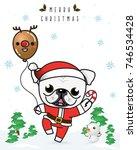 vector of  english bulldog... | Shutterstock .eps vector #746534428
