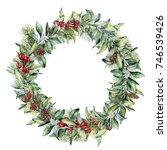 Watercolor Winter Floral Wreath....