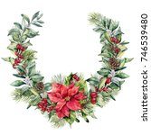 watercolor christmas floral... | Shutterstock . vector #746539480