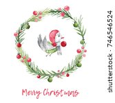 christmas watercolor card with... | Shutterstock . vector #746546524